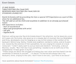 David Archuleta Tuesday Update Chicago 10 30 17 Tix On