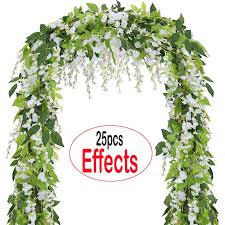 coolamde 4pcs artificial flowers 6 6ft silk wisteria ivy vine green leaf hanging vine garland for wedding party home garden wall decoration white walmart