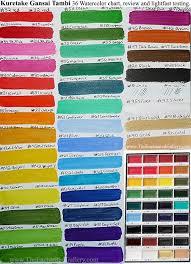 Sakura Poster Color Chart Color Chart Kuretake Gansai Tambi Set 36 Colors