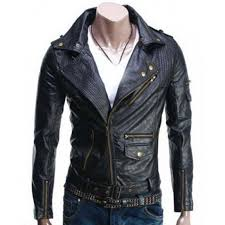 asymmetric style mens slim fit black leather biker jacket