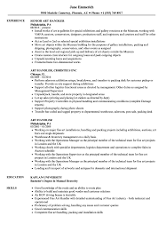 Art Handler Resume Samples Velvet Jobs
