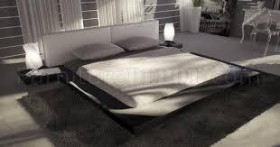 black modern platform bed. Black Gloss Finish Modern Platform Bed W/White Headboard