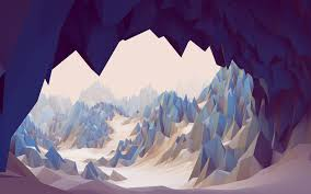 low poly cave abstract 3d mountain rock landscape wallpaper and background