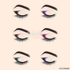 set of eye makeup closed eye with long eyelashes vector ilration