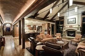 lighting for high ceilings. Great Room Lighting Barrel Vault Rustic Living High Ceilings For I