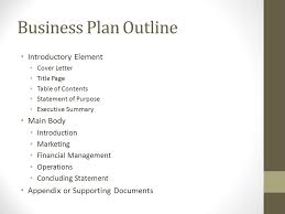 Operation Plan Outline Sbdc Business Plan Outline