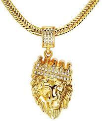 tang 18k real gold diamond crown lion head hip hop pendant necklace