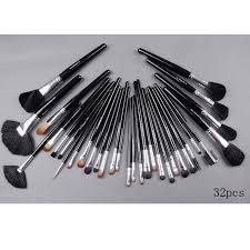 32 piece mac makeup brush set with leather pouch