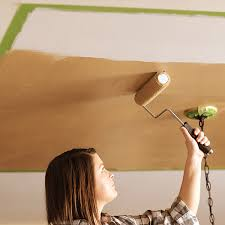 diy project painting the ceiling with metallic paint