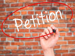 Man Hand Writing Petition With Black Marker On Visual Screen ...