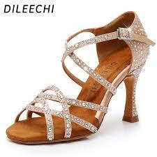 DILEECHI Latin <b>dance shoes women NEW</b> Bronze satin Shining ...