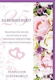 Karte Silberhochzeit 2 Herzen Rosen Spruch 5 Stück Amazonde