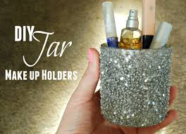eye makeup tutorial diy glitter jar makeup holder