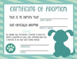 Pet Adoption Certificate Template Pet Adoption Certificate Template Dog Printable Arttion Co