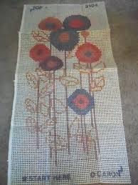 vtg caron latch hook rug pattern canvas mod flowers 18