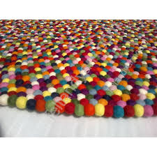 300 cm round multi color felt ball rug