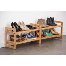 trinity stackable 2 tier bamboo shoe rack 2 pack