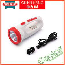 Đèn pin sạc điện xách tay 2 chức năng Sunhouse SHE-8000, đèn LED siêu sáng,  pin trâu - Bảo hành 1 ĐỔI 1