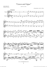 pachelbel canon violin sheet music pachelbel canon in d sheet music for two violins