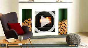 stovax riva 50 inset fire with standard 3 sided frame in jet black metallic with handle removed also shown contemporary black log also available