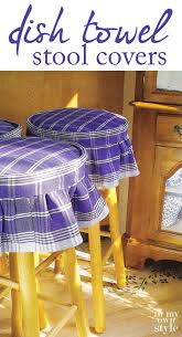 cover stool or any chair seat with colorful dishcloths they are fun and affordable when no sew stool seat covers