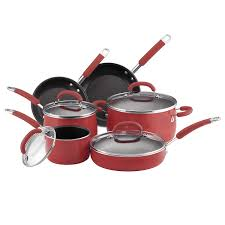 rachael ray pan set. Simple Ray Amazoncom Rachael Ray Porcelain Enamel Nonstick 10Piece Cookware Set  Red Rachel Cookware Kitchen U0026 Dining For Pan Set A