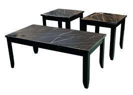 faux black marble cocktail table two end tables occasional imports round with base