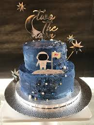Space Birthday Cake Designs Two The Moon Birthday Party Space Galaxy Cake With Cake