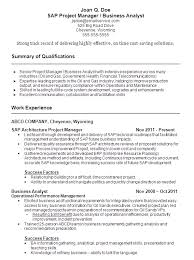 Sample Resumes For Business Analyst Sample Resume Sap Project Manager And Business Analyst