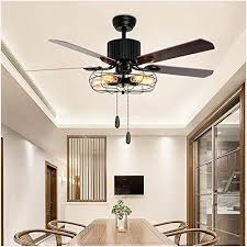 tropicalfan industrial cage ceiling fan 5 light remote control indoor living room bar mute vintage fans