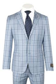 Light Blue Windowpane Suit Dolcetto Modern Fit Light Blue With Navy Windowpane Pure