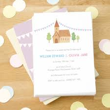 Twin Baptism Invitations Personalised Twins Christening Invitations By Made By Ellis
