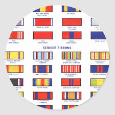 Retro Vintage Kitsch Military Service Ribbon Chart Classic Round Sticker