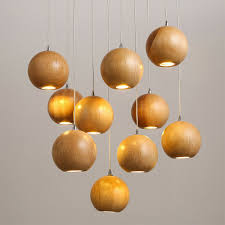 Solid Wood Modern Hanging Light Chinese Japanese Nordic Ball Wooden