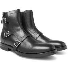 Mens Designer Boots Alexander Mcqueen Full Grain Leather Monk Strap Biker