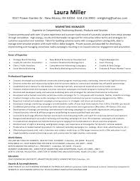 marketing manager resume laura miller resume marketing manager