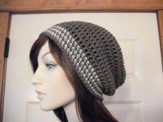 Taupe and Linen Striped Slouchy Beanie, Teens Slouchy, <b>Womens</b> ...