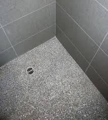 Glass Tile Shower Floor Idea Gray Mosaic Bath Remodel Marble Sea