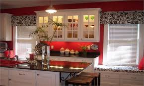 Red Kitchen Curtain Sets Kitchen Lovely Black Banner Valances Set Of 3 Contemporary