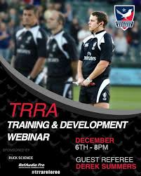 """Texas Rugby Referee on Twitter: """"TRRA Training & Development Webinar:  Assistant Refereeing. Join the TRRA as we speak with USAR National Panel  Referee Derek Summers about the role of the Assistant Referee."""