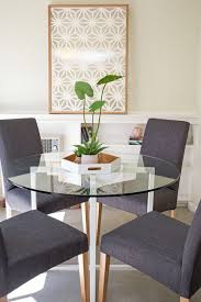 Round glass tables and chairs 90cm Small Dining Area Small Apartment Round Glass Top Dining Table Grey Upholstered Dining Chairs Plant Vignette Pinterest Small Dining Area Small Apartment Round Glass Top Dining Table