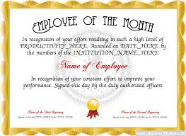 Star Of The Month Certificate Template Employee Of The Month Free Certificate Templates For Staff You