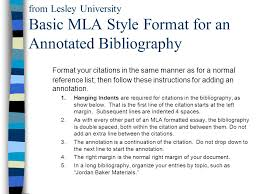what is an annotated bibliography ppt video online  from lesley university basic mla style format for an annotated bibliography