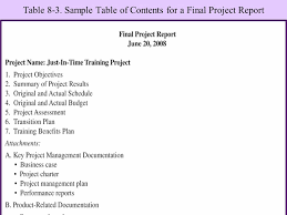 Sample Table Of Contents For Project Report