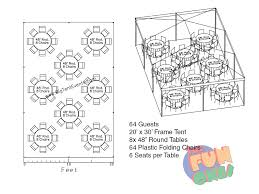 64 guest 20 30 canopy tent round tables buffet