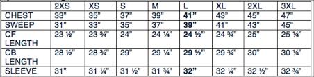 Chest Size Shirt Chart Size Chart