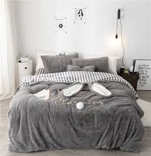 luxury solid color fleece fabric bedding set duvet cover sheet pillowcase king queen twin size white