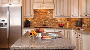 L Shape Kitchen Decorating Using Brown Brick Tile Kitchen Backsplash  Including White Wooden