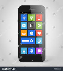 stock vector modern smartphone with tile interface color icons design elements