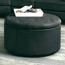 circular leather ottoman round storage coffee table with tan